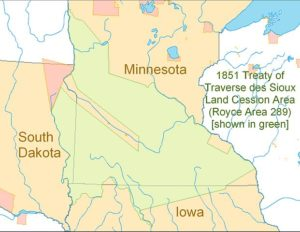 Map of Treaty of Traverse des Sioux