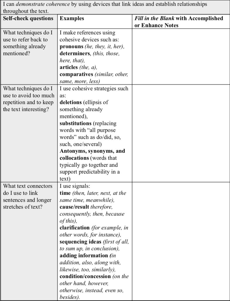 Table 3. Developing Cohesion in Arguments: Example Formative Rubric